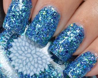 Aqua Glitter Full Coverage Nail Polish by Black Dahlia Lacquer - Blue Spirea