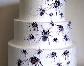 Wedding Cake Toppers, Halloween Cake Topper Edible Spiders, Set of 24 DIY Cake Decor, Cupcake Toppers, Halloween Wedding Cake, Gothic Party