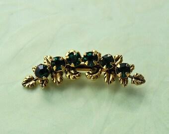 Dark Green Rhinestone Brooch, Gold Tone, Faux Emerald Brooch, Green Pin, Green and Gold, Gold and Green, Small Brooch, Green Brooch GS748