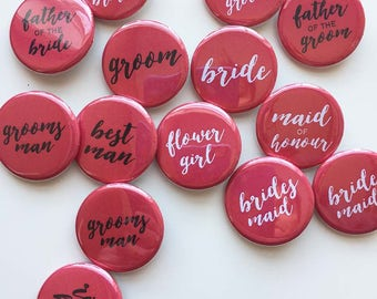 Bridal Party Pins - wedding buttons - red black and white - pack of 10 - 1.25 inch