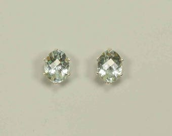 Brazilian Aquamarine in Sterling Silver Stud Earrings