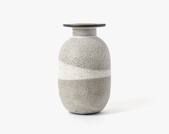 Modern Ceramic Collared Oval Vase