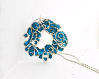 Ready to Ship, Teal Blue Ocean Pendant, Abstract Sterling Silver Jewelry, Denim Paper Jewelry