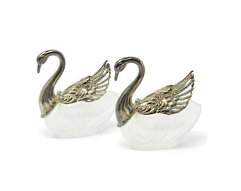 Vintage Swan Salt Cellars with Articulated Silver Plate Wings Crystal - Bridal Gift- Shower Gift - Housewarming Gift -Vintage Serving Mom