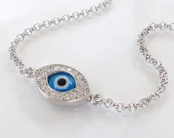 Evil Eye Bracelet As Seen On Kim Kardashian And Kelly Ripa - Sterling Silver, Rose, or Gold Vermeil Lucky Eye