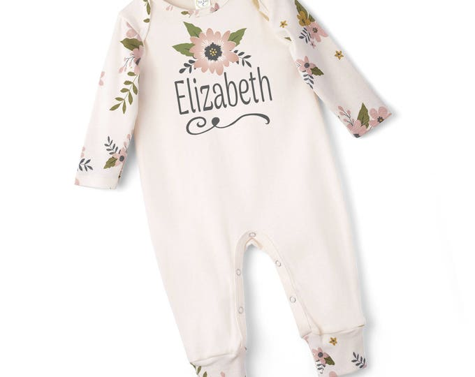 Personalized Newborn Coming Home Outfit, Newborn Boy Girl Take Home Romper, Monogrammed Baby Girl, Tesa Babe