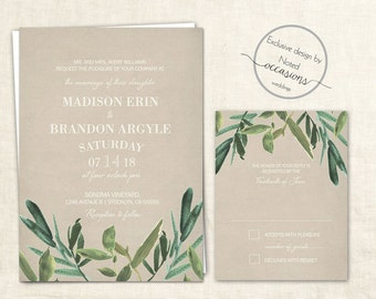 Greenery Wedding Invitation Set | Rustic Watercolor Wedding | Green Wedding Invitations | Country Wedding  Invite RSVP | Digital Printable