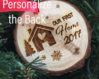 Our First Home Ornament Wood Christmas Ornament Our First Home Tree Decoration Ornament 2017 Christmas Ornament Holiday Decor for Tree