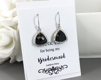 Clearance Black Earrings Bridesmaid Earrings Bridesmaid Gift Drop Dangle Earrings Crystal Earrings Wedding Jewelry Christmas Earrings