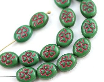 Green Shamrock beads Czech glass clover beads Green Red St. Patrick Irish oval beads, 10x8mm - 12Pc - 1834