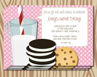 Milk and cookies birthday party invitation, sip and see invitation, cookie invitation, first birthday party, milk and cookies party, digital