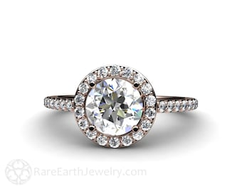Semi Mount Engagement Ring Conflict Free Diamond Halo in 14K or 18K Gold Custom Wedding Ring