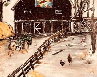 Log Patch Quilted Barn - Original Art Print - Farmhouse-Barn-Primitive Art