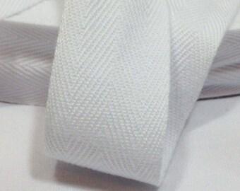 Cotton Twill Tape 3 yards 1 inch White Wholesale Herringbone Straps Binding