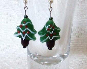 Handmade Christmas Tree Lampwork Glass Earrings (Nickel-Free)