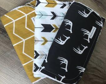 Modern, burp cloths, charcol, antlers, arrows, mustard, gray, mint, chevron, shower gift