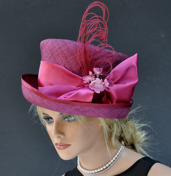 Kentucky Derby Hat, Ascot Hat, Derby Hat, Formal Hat, Pink Top Hat, Pink Straw Hat, Occasion Hat