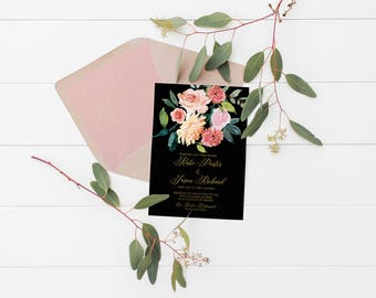 Gold Wedding Invitation Set, Printable Wedding, Wedding Invites, Floral Watercolor Invitations, Invite, Elegant Wedding, Calligraphy #R097