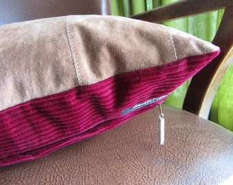 "Handmade one of a kind upcycled beige sand suede cushion with red corduroy backing / pillow with clay pipe tag. 16"" / 40cm  (Ref sand suede)"
