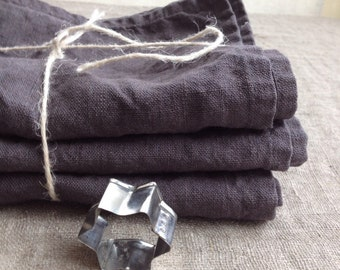 Linen Towels, Set of three Dark Grey Kitchen towels, dish towels, charcoal linen tea towels