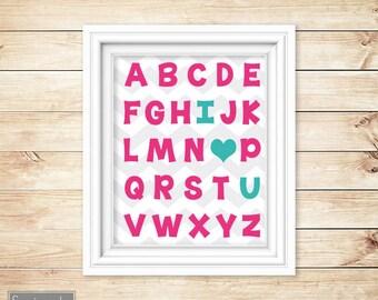 I Love Heart You Alphabet Teal Pink Learning Tool Wall Art Nursery Girl's Room Decor ABC's Printable 11x14 Digital JPG Instant Download 54