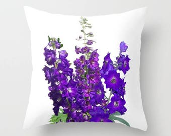 Delphinium flower Throw pillow OR pillow cover | nature inspired home decor, nature lover gift, housewarming gift, birthday gift
