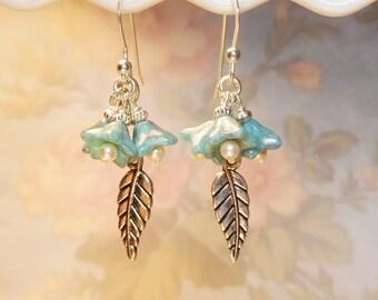 Diy Blue Flower and Silver Earring Kit