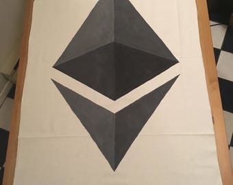 Hand-Painted, Ethereum Cryptocurrency Logo, Canvas Banner