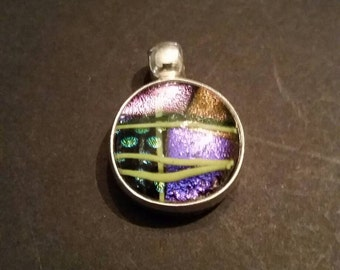 Vintage Sterling Silver Glass Pendant Multi-Colored 925 Abstract Jewelry
