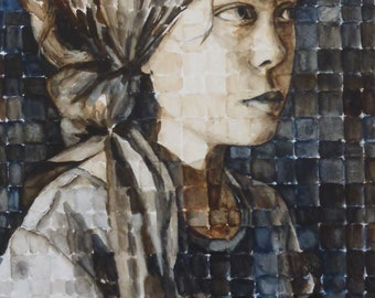 original watercolor painting - gypsy study of Sammi in watercolors - by Anita Dewitt - portrait and figurative fine artist