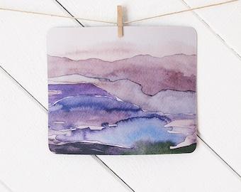 mousepad / Mouse Pad / Mat - Watercolor Purple Violet Landscape