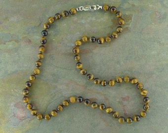 Tiger Eye Natural Gemstone Sterling Silver Necklace