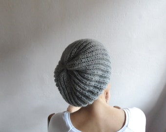 Slouchy Beanie in Light Gray, Slouchy Hat