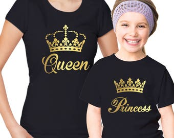 Queen and Princess Mothers and daughters black t-shirts set with gold vinyl crowns