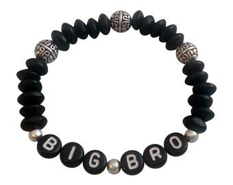 Big Brother Bracelet Gift Big Bro Sibling Gift black wooden beads