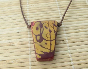 Red and Gold Tribal Style Pendant - Leather and Clay - Handmade Rustic Look Unisex Necklace Handcrafted Artisan Jewelry