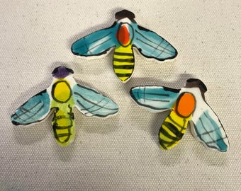 3 Darling Bumble BEE Hand painted Mosaic Tiles