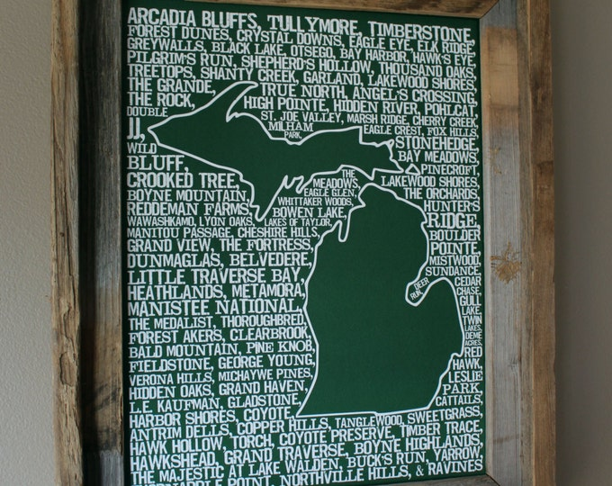 Michigan Golf Word Map (Green) - Unframed