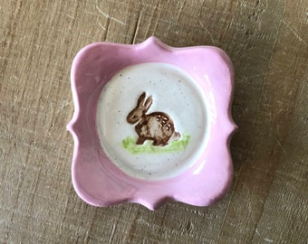 Rabbit Ring Dish, Bunny Dish, Pink Ring Dish, Handmade Pottery, Easter, Spring, Rabbit, Bunny, Plate, Easter Gift, Little Girl Gift