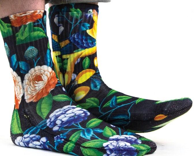 Samson® Hawaiian Birds Sublimation Hand Printed Socks Hawaii Island Tropical Quality Print UK