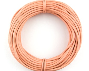Peach Round Leather Cord 2mm 25 meters (27.34 yards)
