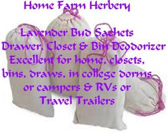 Lavender Bud Sachets Drawer, Closet and Bin Deodorizer, FREE Shipping