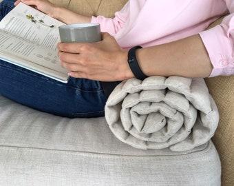 Scandinavian nursery- Scandinavian baby- Tummy time play mat- Linen mat- Baby shower gift- Organic blanket rug- Linen bolster- Roller pillow