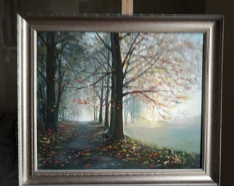 Oil painting, Landscape, Autumn, Handmade item, Framed painting, Wall art, Home decoration, Gift