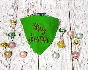 Christmas Pregnancy Announcement - Christmas Baby Announcement - Pregnancy Reveal- Baby Reveal - Big Sister Dog Bandana - Future Big Sister