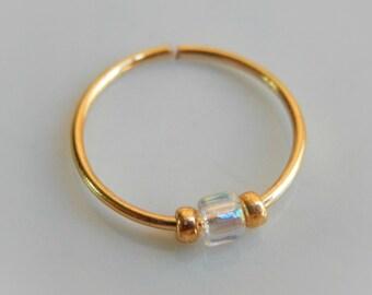 helix hoop earring - helix piercing - nose ring - tragus hoop earring - cartilage earring - septum ring