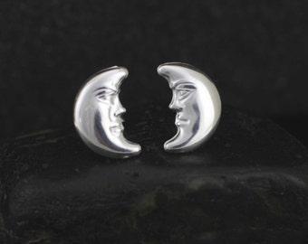 Silver Moon Stud, Sterling Silver Moon Stud Earrings, Silver Moon Face Earrings, Crescent Moon Post Earrings, Celestial Stud Earrings,