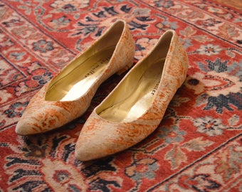 vintage VELVET pointed toe FLATS 7.5 8 made in ITALY
