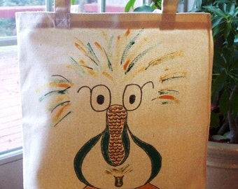 Cornbird (c) Hand Painted Canvas Tote Bag