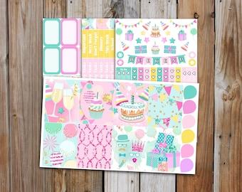Birthday Celebration Planner Sticker MINI Kit | Celebration Party Planner Stickers Kit for use with ERIN CONDREN Life Planner